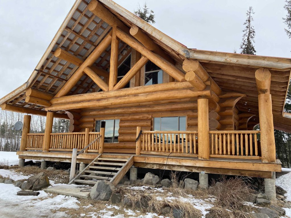 5664 West Fraser Road, Quesnel, BC >  674 Acres | 4 Bedroom Log Home | 125 Acres Hay | 15×35 Heated Shop | 30×50 Calving Barn  | Cattle Handling System | Timber Value